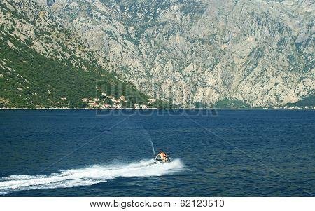 Sea doo at the bay of Kotor - Boka Kotorska, Montenegro