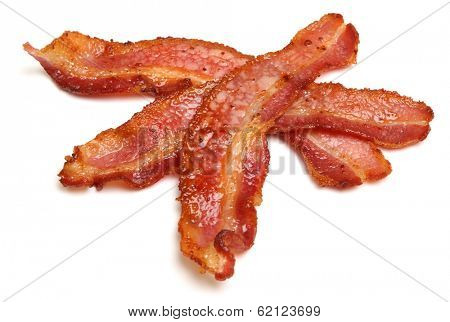 Cooked bacon strips on a white background