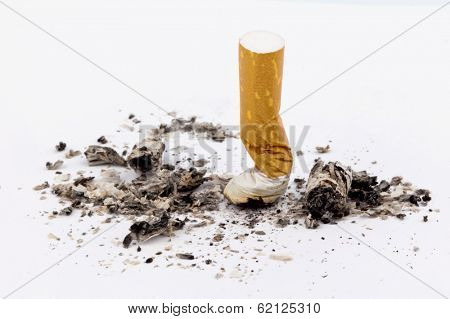 stop smoking. on the muffled cigarette on white background