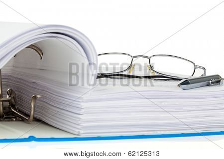 a file folder with documents and documents. retention of contracts. poster