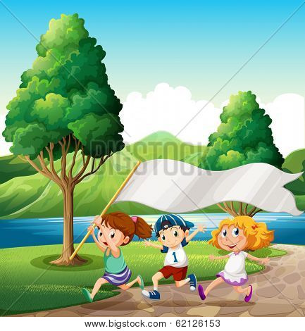 Illustration of the kids running near the riverbank while bringing an empty banner