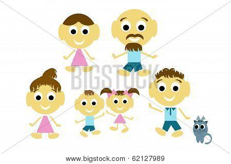 Joyful Family, Three Generation Family And Cat
