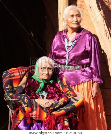 Navajo Wise Elderly Women Outdoors