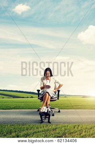 emotional big woman with megaphone and small lazy man on the road