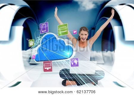 Digital composite of cheering blonde using laptop with app icons and cloud poster