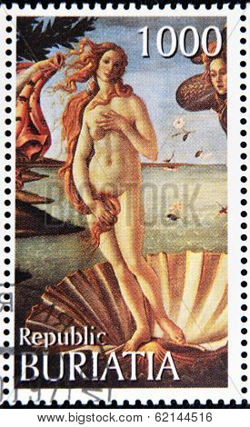 A stamp printed in Buryatia shows picture of Sandro Botticelli