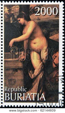 BURYATIA - CIRCA 1990: A stamp printed in Buryatia shows picture of Tiziano