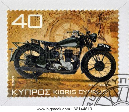 CYPRUS - CIRCA 2007: A stamp printed in Cyprus shows a motorbike BSA 1940 circa 2007