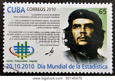 CUBA - CIRCA 2010: A stamp printed in cuba shows Ernesto Che Guevara