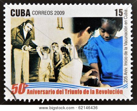 stamp 50 anniversary of the triumph of the revolution shows 205 anniversary of vaccination in Cuba