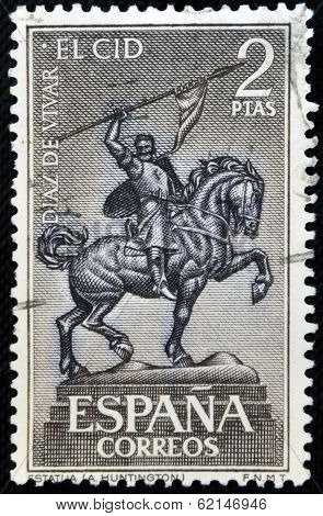 stamp shows Equestrian Statue of El Cid Campeador (Rodrigo Diaz de Vivar) Spain's National Hero