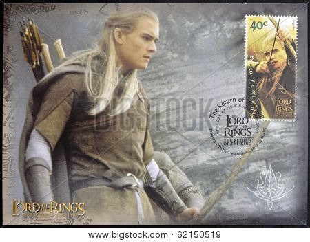 stamp printed by New Zealand shows Legolas Shooting with Bow in Lord of Rings Trilogy
