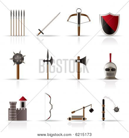 medieval arms and objects icons - vector icon set poster