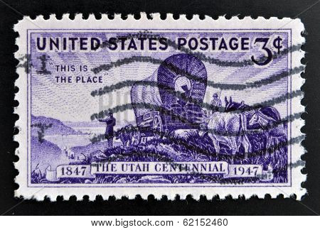 stamp shows the Pioneers entering the Valley of Great Salt Lake devoted to Utah Settlement Centenary