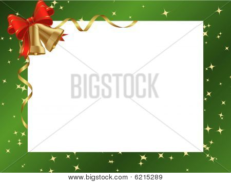 Green ornamental christmas frame