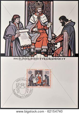 A stamp printed in Liechtenstein shows imperial immediacy