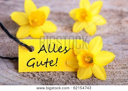 Yellow Label With Alles Gute