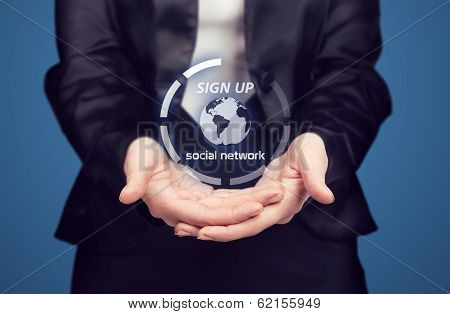 Business Woman Presenting New Social Network