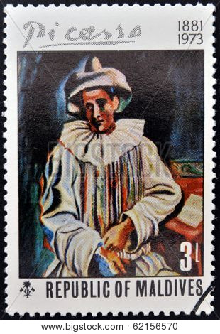 stamp printed in the Republic of Maldives shows Pierrot by Pablo Ruiz Picasso
