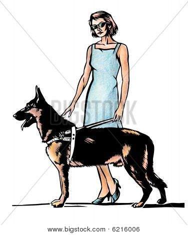 Blind woman illustraion
