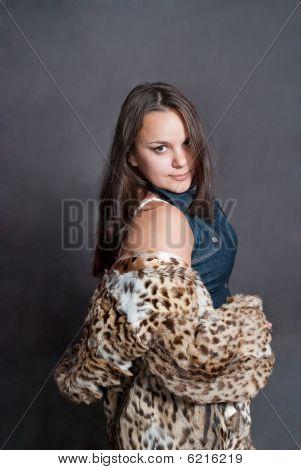 Sexy Girl In Fur Coat