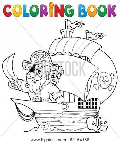 Coloring book ship with pirate 1 - eps10 vector illustration.