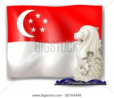 Illustration of the statue of Merlion and the flag of Singapore on a white background