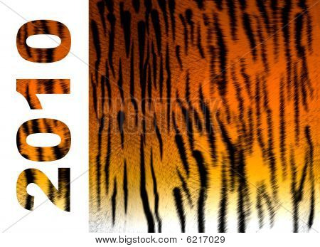 The image contains a background in the form of fur of a tiger and date number Year of a tiger 2010 poster