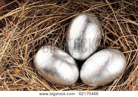 Silver Easter Wooden Eggs.