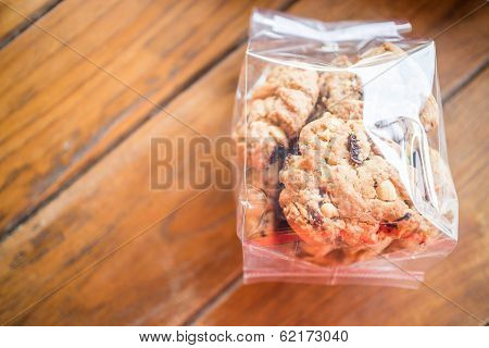 Pack Of Cereal Cookies On Wooden Table