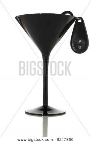 Black Martini Glass And Keys With Clipping Path