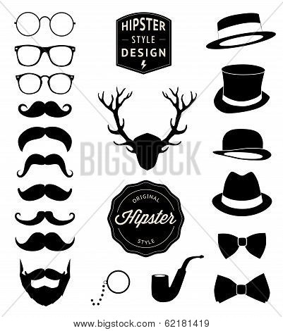 set of collection vintage fashion elements. vector illustration