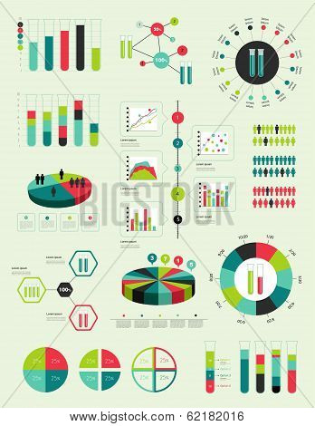 Flat infographic collection of charts, graphs, speech bubbles, schemes, diagrams. Trend color set. C