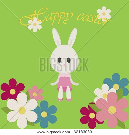 Easter Illustration Bunny And Flowers