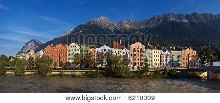 Panoramic view of the river Inn, Innsbruck, Austria