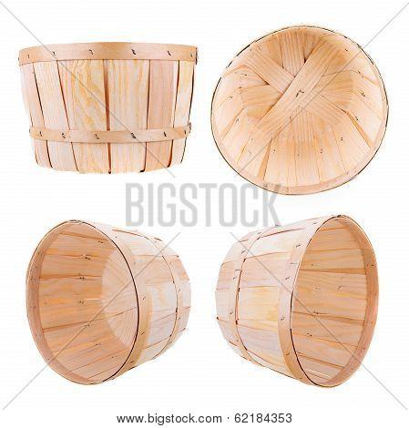 Bushel Basket On White - 4 Angles