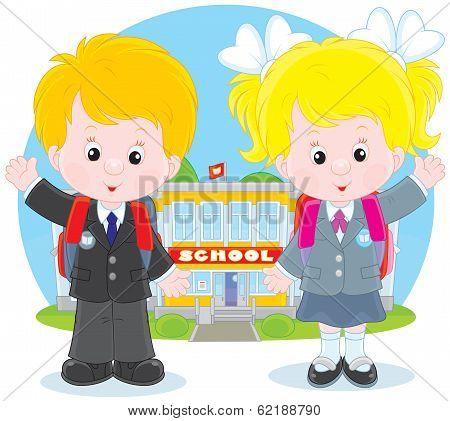 Schoolchildren before a school