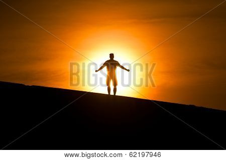 Glowing Man On The Hill