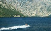 Sea doo at the bay of Kotor - Boka Kotorska, Montenegro poster