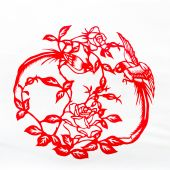 This is a Chinese paper-cut, reflecting the animal a happy life scenarios. poster
