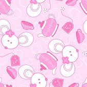 Tea for two mice seamless pattern on a pink background. poster