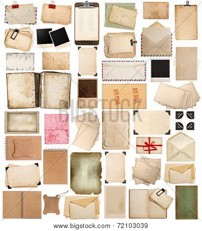 Aged Paper Sheets, Books, Pages And Old Postcards Isolated On White Background