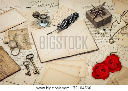 diary book old love letters and red rose flowers. nostalgic sentimental background. retro style toned picture poster
