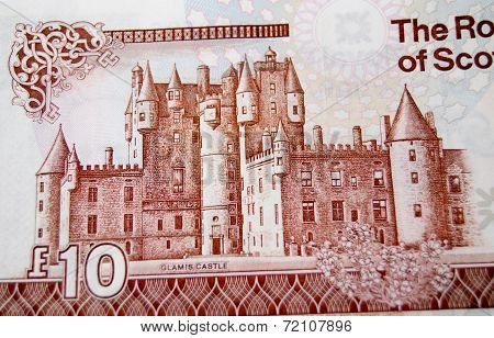 Glamis Castle on banknote