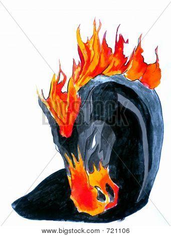 schwarz und Fire horse