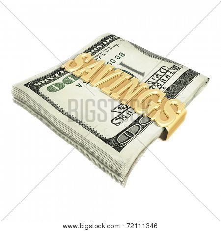 Savings Money Clip 3D  (with clipping path)