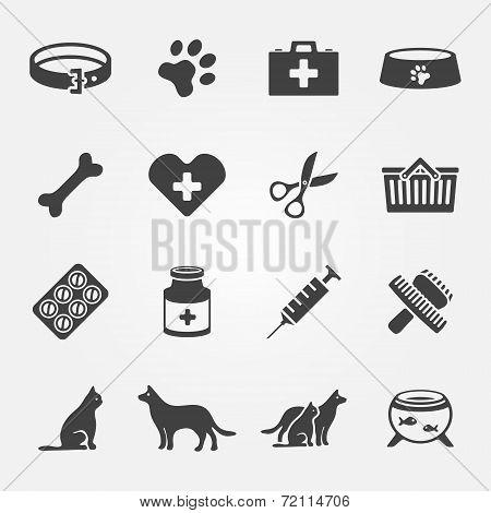 Veterinary pet vector icons set