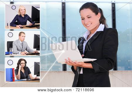 Social Network Concept - Business Woman And Her Partners