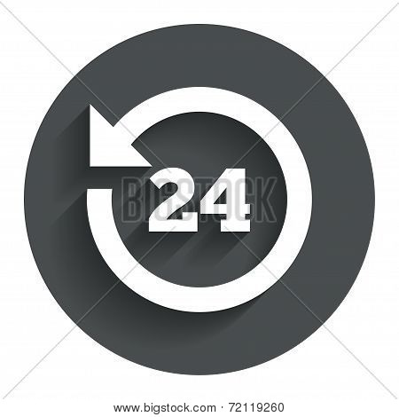 24 hours customer service. Round the clock support symbol. Circle flat button with shadow. Modern UI website navigation. Vector poster