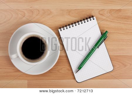 Espresso Cup With Blank Notepad And Pen